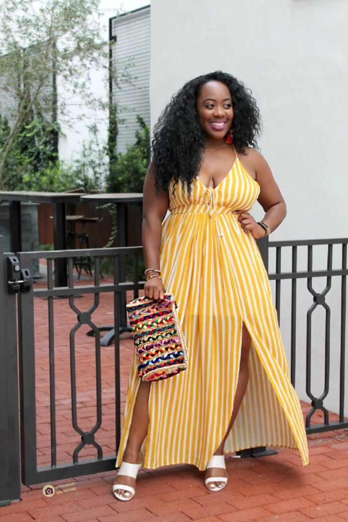 yellow and white striped maxi dress