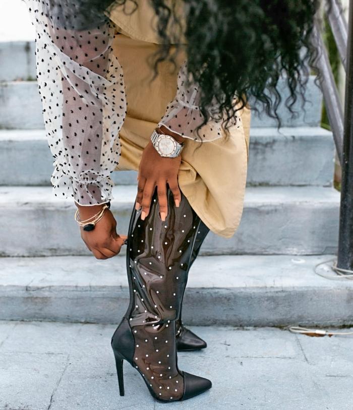 polka dot pvc boots