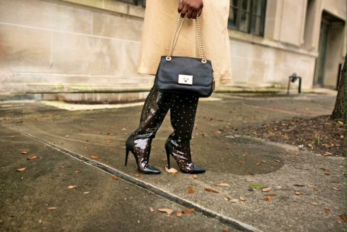 polka dot sheer boots