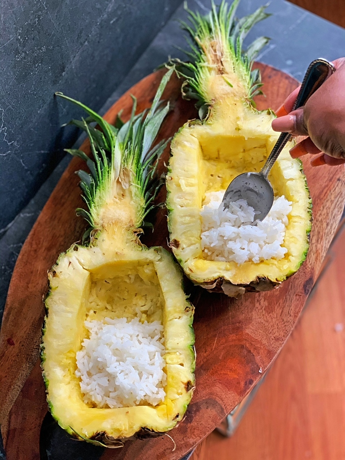 pineapple bowls and rice