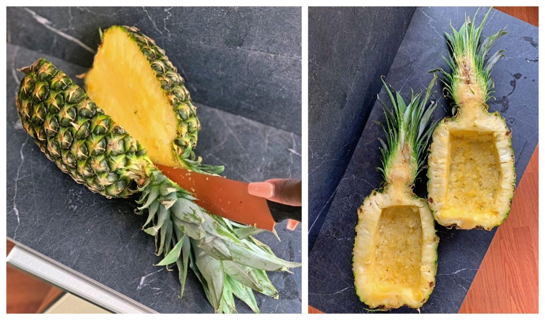scoop pineapple bowls